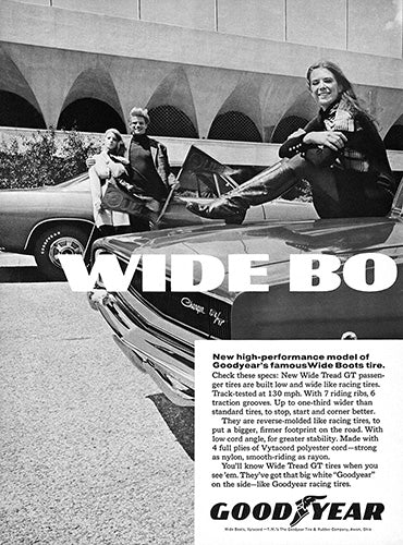 Dodge Car Poster, 1968 Goodyear Tires Wide Boots GT Dodge Charger RT , Vintage Ad Wall Art