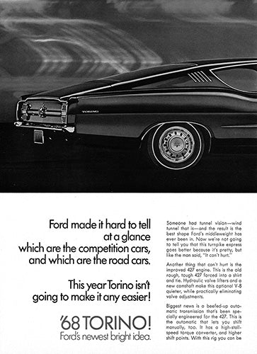 Ford Car Poster, 1968 Ford Torino 427 , Vintage Ad Wall Art