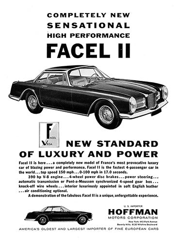 Facel Car Poster, 1962 Facel Vega Facel II, Vintage Ad Wall Art