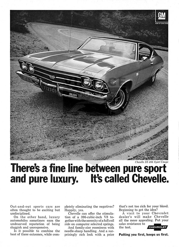 Chevrolet Car Poster, 1969 Chevrolet Chevelle SS, Vintage Ad Wall Art