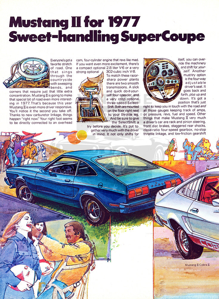 Ford Car Poster, 1977 Ford Mustang II Mach 1 Cobra , Vintage Ad Wall Art