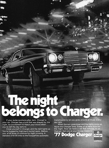 Dodge Car Poster, 1977 Dodge Charger, Vintage Ad Wall Art