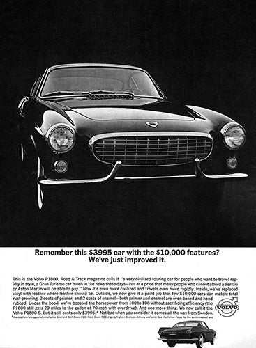 Volvo Car Poster, 1963 Volvo P1800, Vintage Ad Wall Art