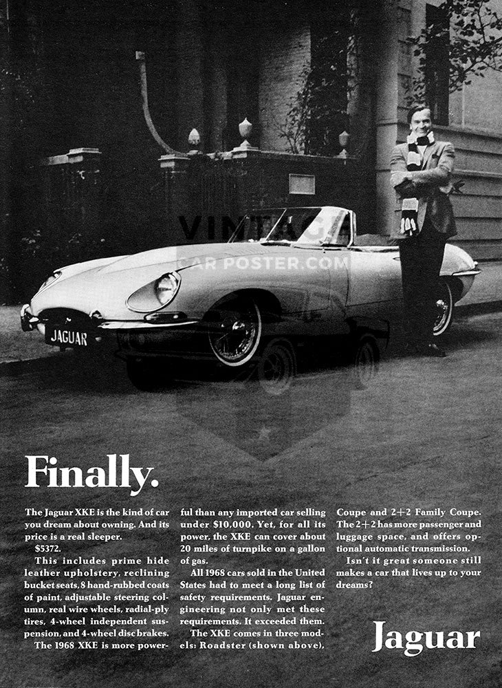 Jaguar Car Poster, 1968 Jaguar XKE Convertible Roadster, Vintage Ad Wall Art