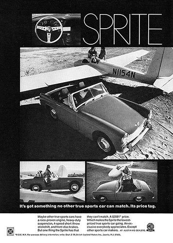 MG Car Poster, 1969 MG Sprite, Vintage Ad Wall Art