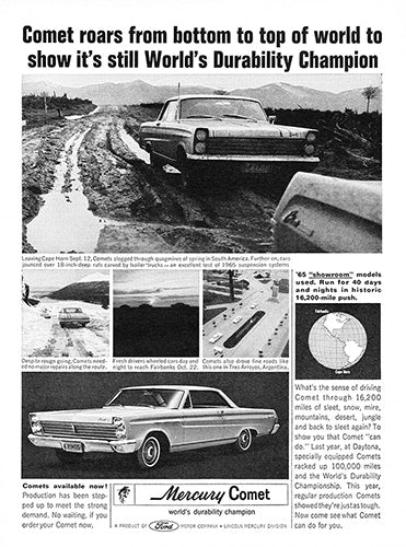 Ford Car Poster, 1965 Ford Mercury Comet, Vintage Ad Wall Art