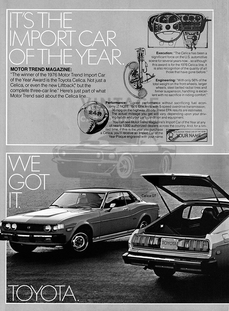 Toyota Car Poster, 1976 Toyota Celica GT Liftback ST , Vintage Ad Wall Art