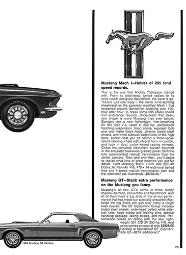 Ford Car Poster, 1969 Ford Mustang Mach 1 GT , Vintage Ad Wall Art