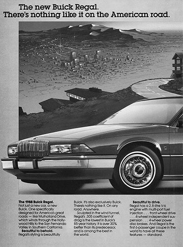 Buick Car Poster, 1988 Buick Regal , Vintage Ad Wall Art