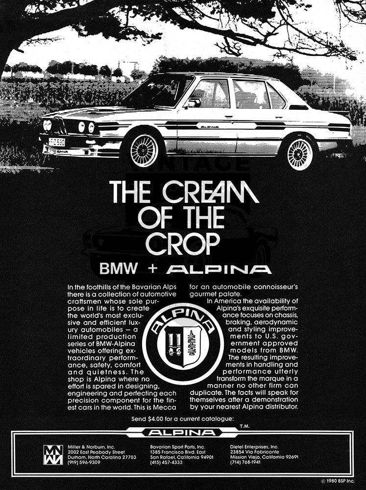 BMW Car Poster, 1980 BMW Alpina, Vintage Ad Wall Art
