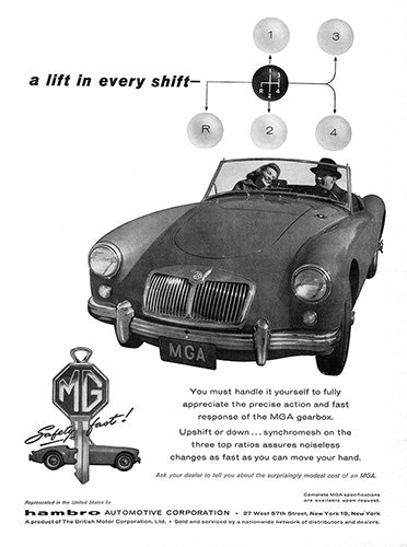 MG Car Poster, 1960 MG MGA, Vintage Ad Wall Art