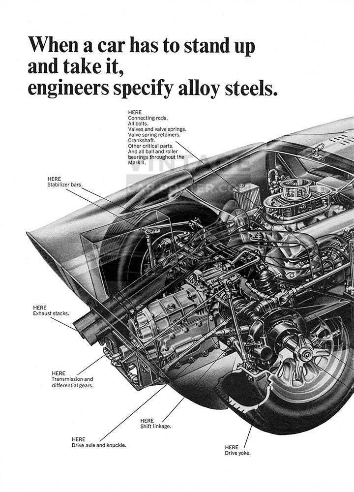 Alloy Car Poster, 1967 Alloy Steel Car Cutaway Ford GT40 , Vintage Ad Wall Art
