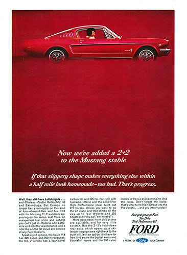 Ford Car Poster, 1965 Ford Mustang 2+2, Vintage Ad Wall Art