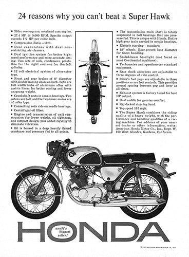 1963 Honda Motorcycle Super Hawk     #100343