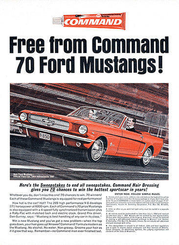 1964 Command Hair Gel Ford Mustang Convertible     #100440
