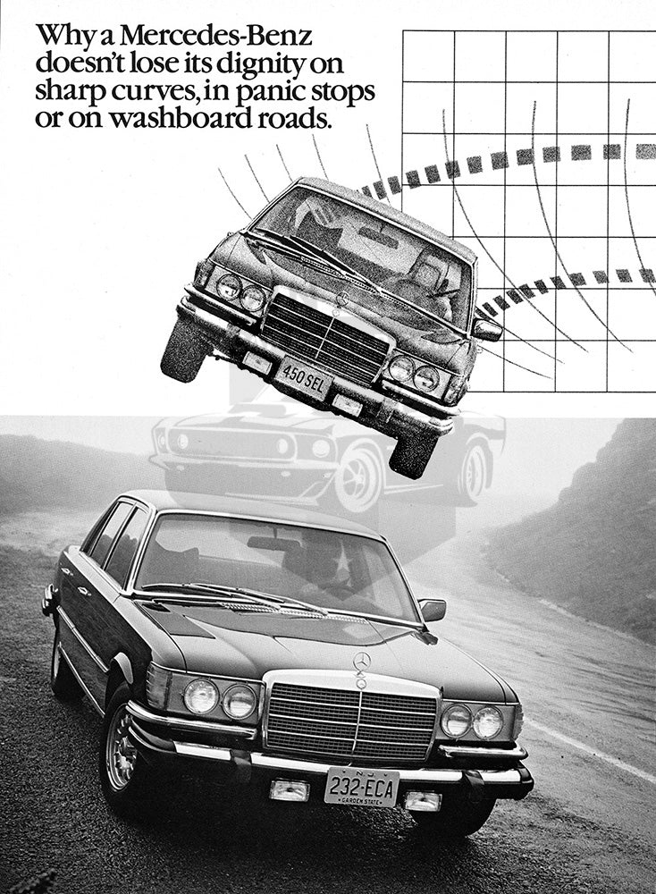 Mercedes Car Poster, 1978 Mercedes Benz 300 SE 450 Series , Vintage Ad Wall Art