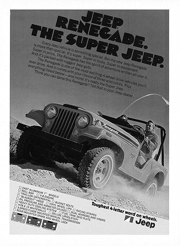 Jeep Car Poster, 1972 Jeep Renegade, Vintage Ad Wall Art