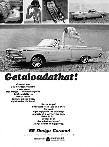 Dodge Car Poster, 1965 Dodge Coronet 500, Vintage Ad Wall Art