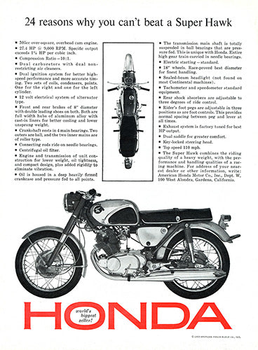 1963 Honda Motorcycle Super Hawk     #100342