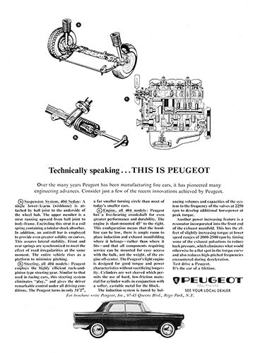Peugeot Car Poster, 1964 Peugeot 404 Sedan, Vintage Ad Wall Art