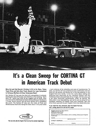 Ford Car Poster, 1963 Ford Cortina GT, Vintage Ad Wall Art