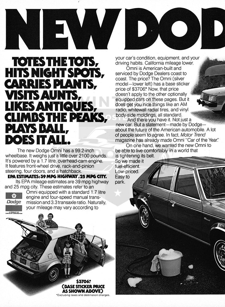 Dodge Car Poster, 1978 Dodge Omni , Vintage Ad Wall Art