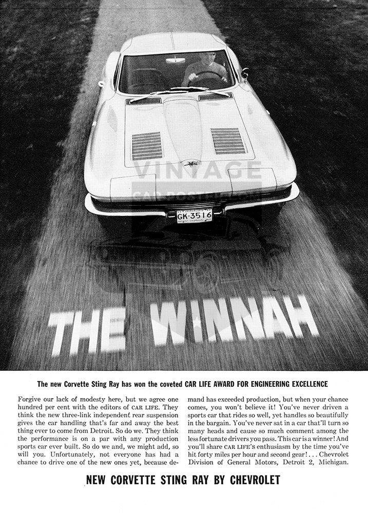 Chevrolet Car Poster, 1963 Chevrolet Corvette Stingray, Vintage Ad Wall Art