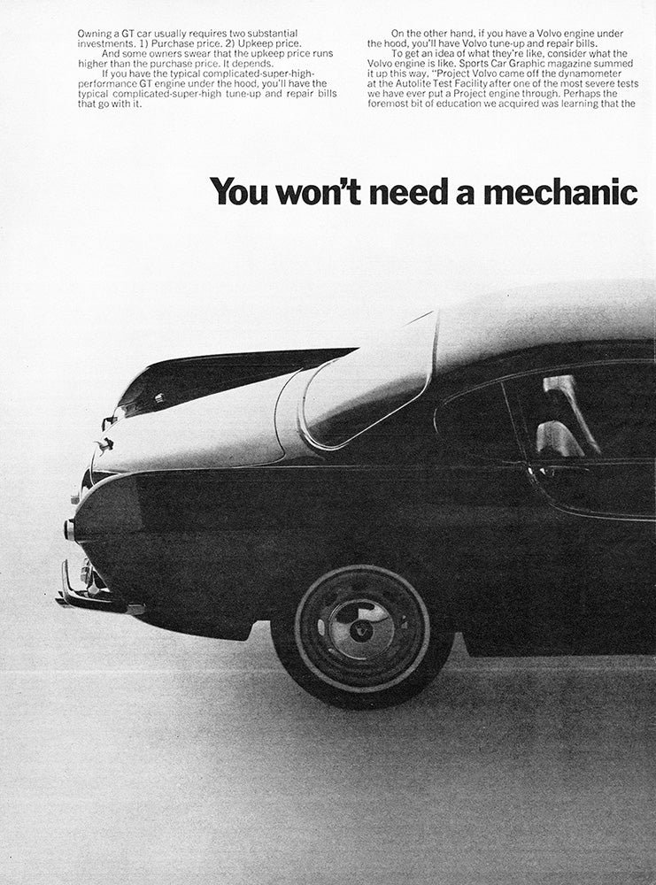 Volvo Car Poster, 1966 Volvo P1800 , Vintage Ad Wall Art