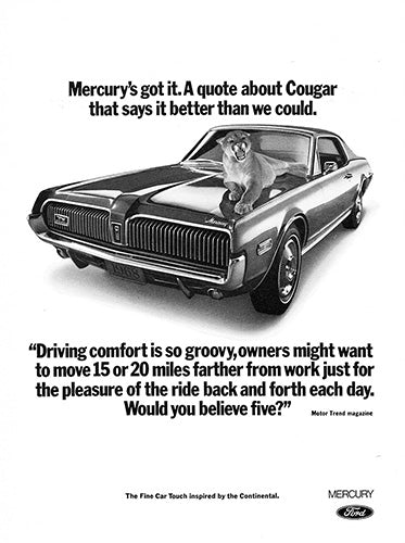 Ford Car Poster, 1968 Ford Mercury Cougar, Vintage Ad Wall Art