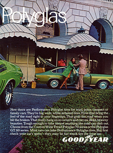 Dodge Car Poster, 1971 Goodyear Tires Performance Polyglas Dodge Challenger 340 , Vintage Ad Wall Art