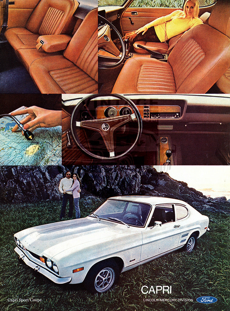 Ford Car Poster, 1971 Ford Mercury Capri , Vintage Ad Wall Art