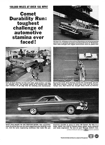 Ford Car Poster, 1964 Ford Mercury Comet, Vintage Ad Wall Art