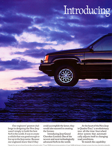 Jeep Car Poster, 1993 Jeep Grand Cherokee , Vintage Ad Wall Art