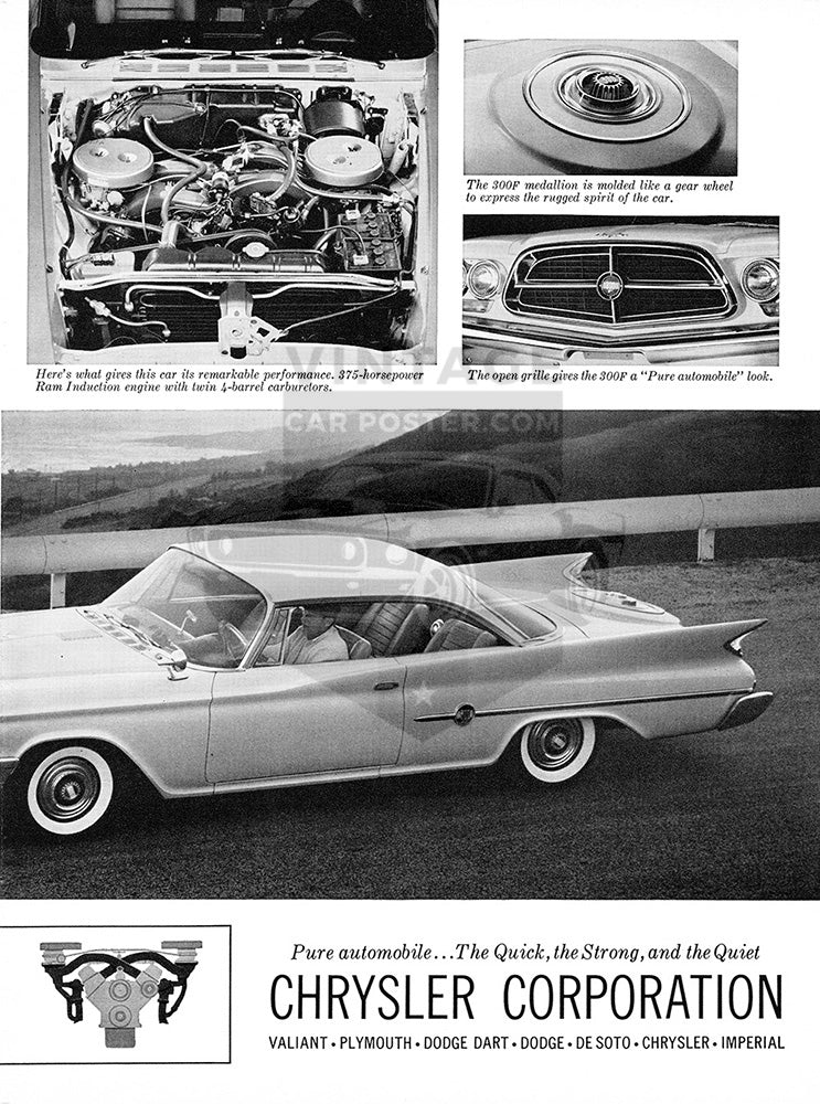 Chrysler Car Poster, 1960 Chrysler 300 F , Vintage Ad Wall Art