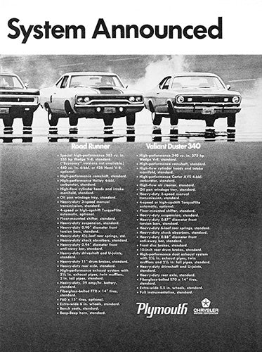 Plymouth Car Poster, 1969 Plymouth Barracuda GTX Sport Fury GT Road Runne…iant Duster , Vintage Ad Wall Art