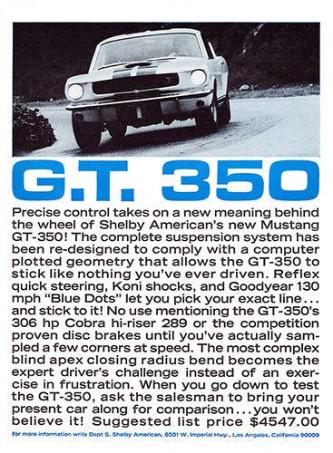 Ford Car Poster, 1965 Ford Mustang Shelby GT 350, Vintage Ad Wall Art