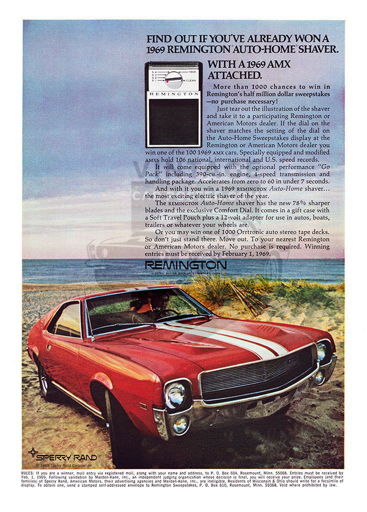 AMC Car Poster, 1969 AMC American Motors AMX, Vintage Ad Wall Art