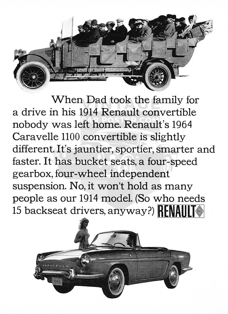 Renault Car Poster, 1964 Renault Caravelle 1100 Convertible, Vintage Ad Wall Art