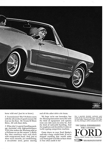 Ford Car Poster, 1964 Ford Mustang Convertible , Vintage Ad Wall Art