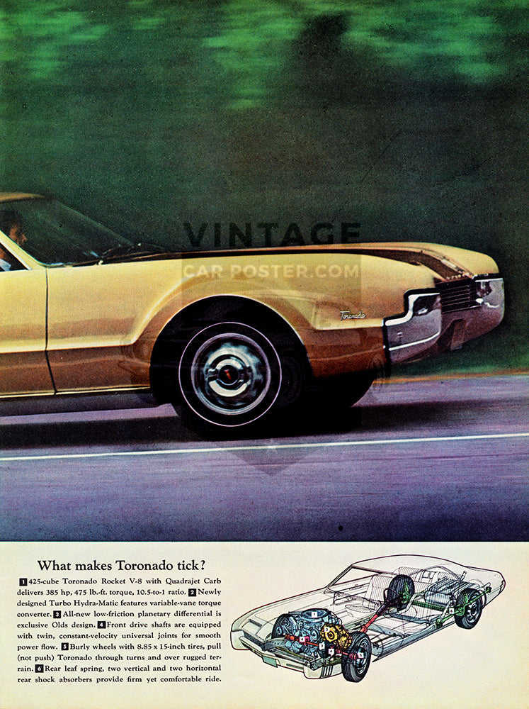 Oldsmobile Car Poster, 1966 Oldsmobile Toronado , Vintage Ad Wall Art