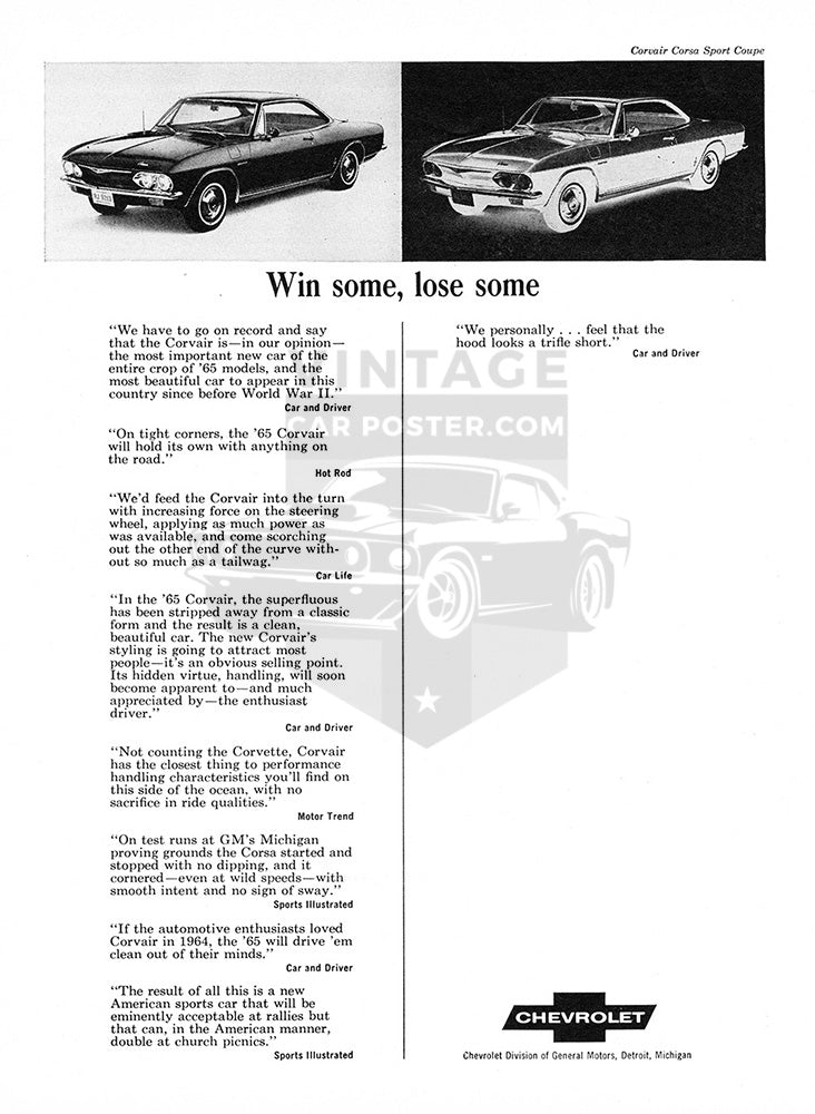 Chevrolet Car Poster, 1965 Chevrolet Corvair Sport Coupe, Vintage Ad Wall Art