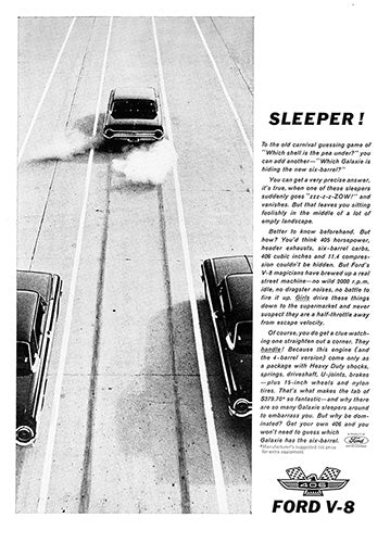Ford Car Poster, 1962 Ford Thunderbird 406 V8, Vintage Ad Wall Art