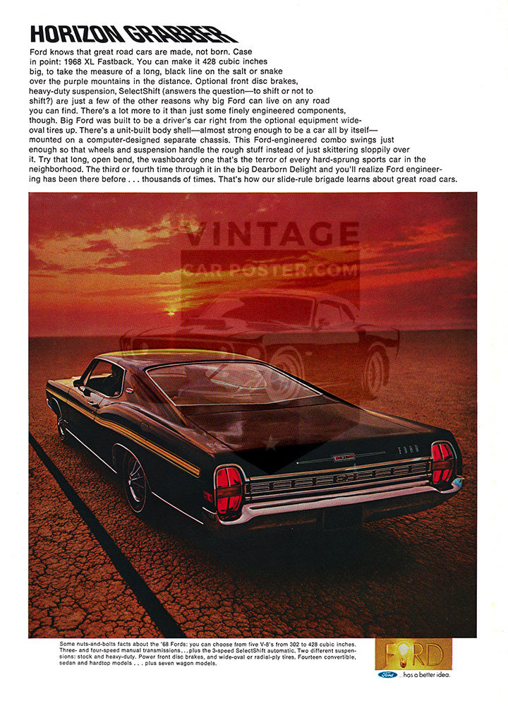 Ford Car Poster, 1968 Ford Galaxie XL Fastback, Vintage Ad Wall Art
