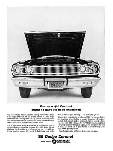 Dodge Car Poster, 1965 Dodge Coronet 426, Vintage Ad Wall Art