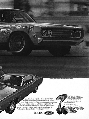 Ford Car Poster, 1969 Ford Torino Cobra , Vintage Ad Wall Art
