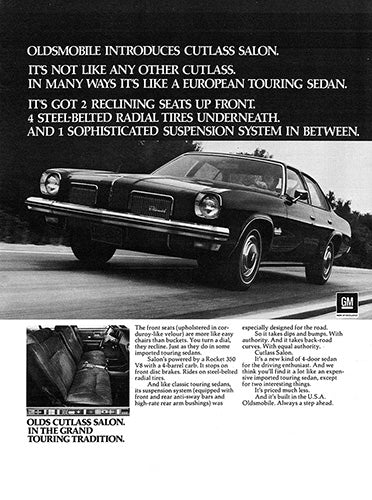 Oldsmobile Car Poster, 1972 Oldsmobile Cutlass, Vintage Ad Wall Art