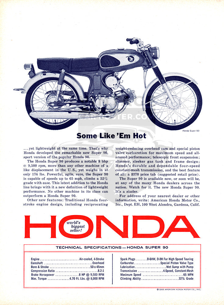 1965 Honda Motorcycle Super 90     #100658