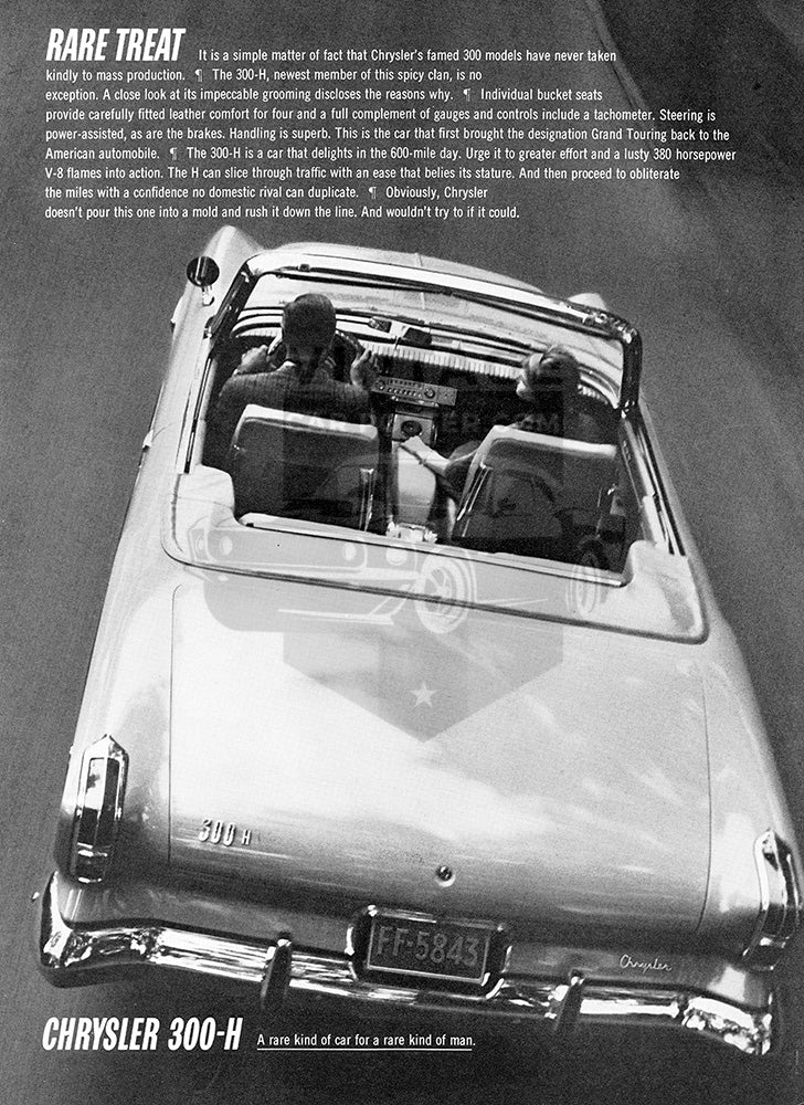 Chrysler Car Poster, 1962 Chrysler 300H, Vintage Ad Wall Art