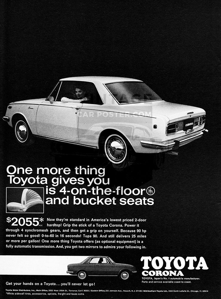Toyota Car Poster, 1968 Toyota Corona, Vintage Ad Wall Art