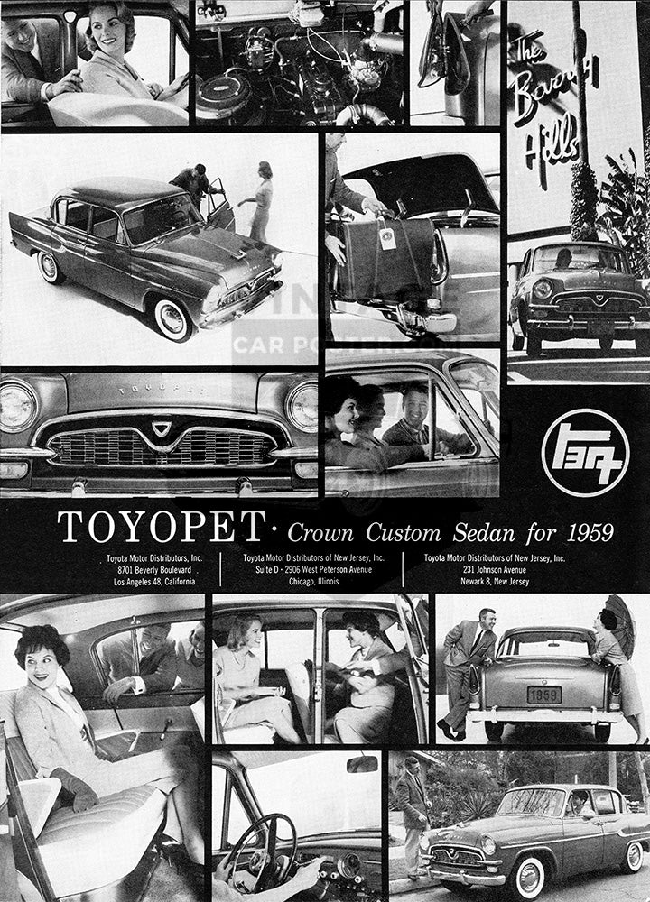 Toyota Car Poster, 1958 Toyota Toyopet Crown Custom, Vintage Ad Wall Art